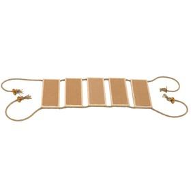 """Настенная лестница """"Ямакаси"""" подвесная, 5 ступеней, ковролин, 76,5х22х1,1 см, светлый дуб"""