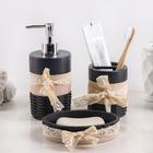 Набр аксессуаров для ванной комнаты «Кружева», 3 предмета (дозатор 200 мл, мыльница, стакан) - фото 4649592