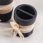 Набр аксессуаров для ванной комнаты «Кружева», 3 предмета (дозатор 200 мл, мыльница, стакан) - фото 4649594
