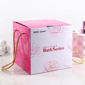 Набр аксессуаров для ванной комнаты «Кружева», 3 предмета (дозатор 200 мл, мыльница, стакан) - фото 4649595
