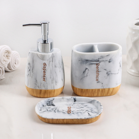 "Bath set ""For"" 3-piece (soap dish, soap dispenser, Cup)"