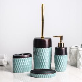 Набор аксессуаров для ванной комнаты «Мята», 4 предмета (дозатор 300 мл, мыльница, стакан, ёрш)