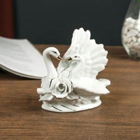 "Ceramic souvenir ""the Courtship of swans"" white rhinestone 11,3x11,5x7,8 cm"
