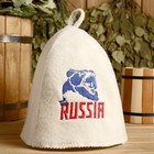 """Шапка для бани с вышивкой """"Russia"""" медведь"""