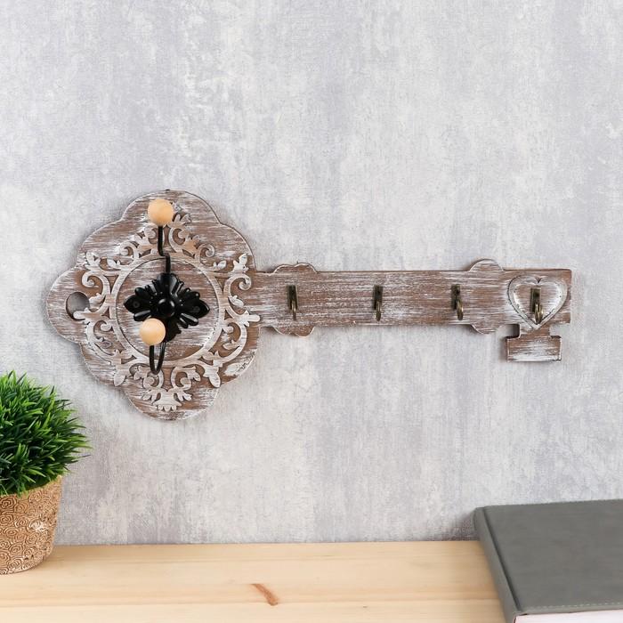 """Крючки декоративные дерево """"Старинный ключ"""" 18х40х6,5 см"""