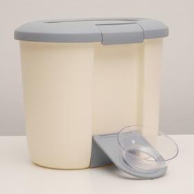 Контейнер для корма до 5 кг, с откидной подставкой и миской, серый