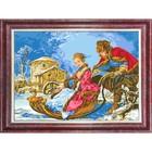 Канва с нанесенным рисунком для вышивки крестом «Зимнее катание», 37х70 см - фото 694444