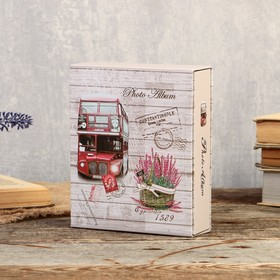 "Фотоальбом на 40 фото 10х15 см ""Башни и цветы"" в коробке, золотая обводка МИКС 17х14х5 см"