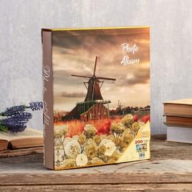 "Фотоальбом на 200 фото 13х18 см ""Цветы и мельница"" в коробке МИКС 29,5х23,5х5,5 см"