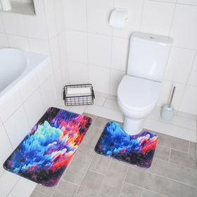 Набор ковриков для ванны и туалета «Всплеск», 2 шт: 40×50, 50×80 см