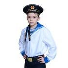 Костюм моряка для мальчика, фланка, тельняшка, бескозырка, ремень, рост 152 см