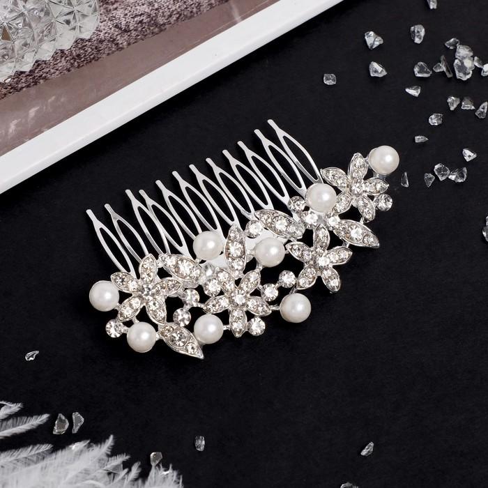 """Гребень для волос """"Бенерис"""" 9*5,5 см, цветы, серебро"""