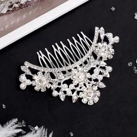 """Гребень для волос """"Елизавета"""" 10*7 см, цветочная поляна, серебро"""