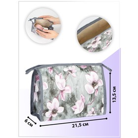 Cosmetic bag ^ Flowers 21,5*6*13,5 the division with zip, grey