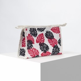 Cosmetic bag ^ Leaves, 21,5*6*13,5 the division zipper, black/red