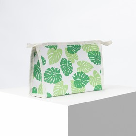 Cosmetic bag ^ Leaves, 21,5*6*13,5 Department zip, green/light green