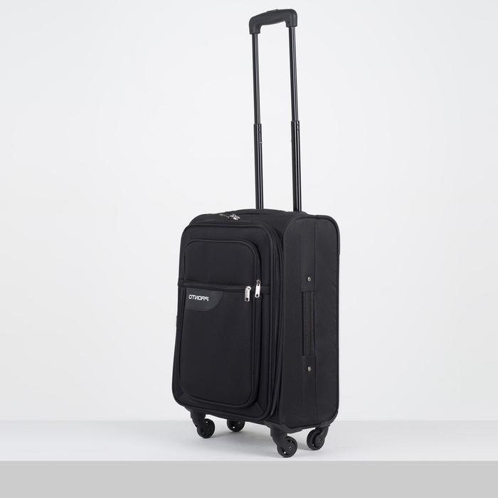"""Чемодан малый 20"""", отдел на молнии, 2 наружных кармана, 4 колеса, цвет чёрный - фото 646752"""