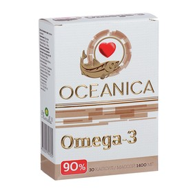 Пищевая добавка «Океаника Омега-3 - 90%», для сердца, 30 капсул по 1400 мг