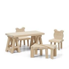 Набор деревянной мебели для домика «Стол и стулья»