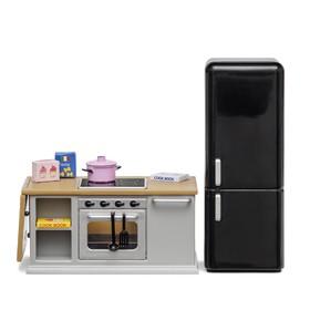 Набор мебели для кукольного домика «Кухонный остров», с холодильником