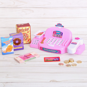 Cash register with scanner and scales, accessories, color pink, PACKAGE