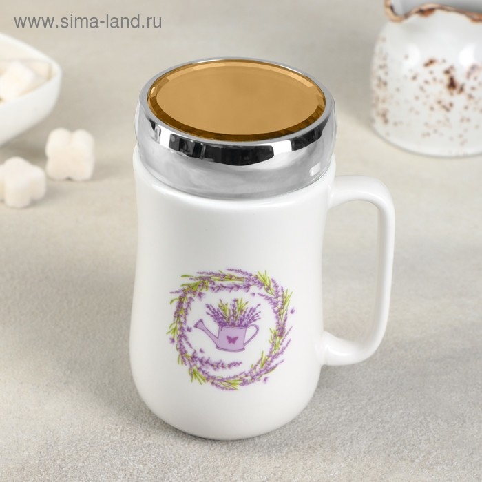 "Mug with mirror lid ""Provence"" 450 ml 9,8х7,8х14,2 cm"