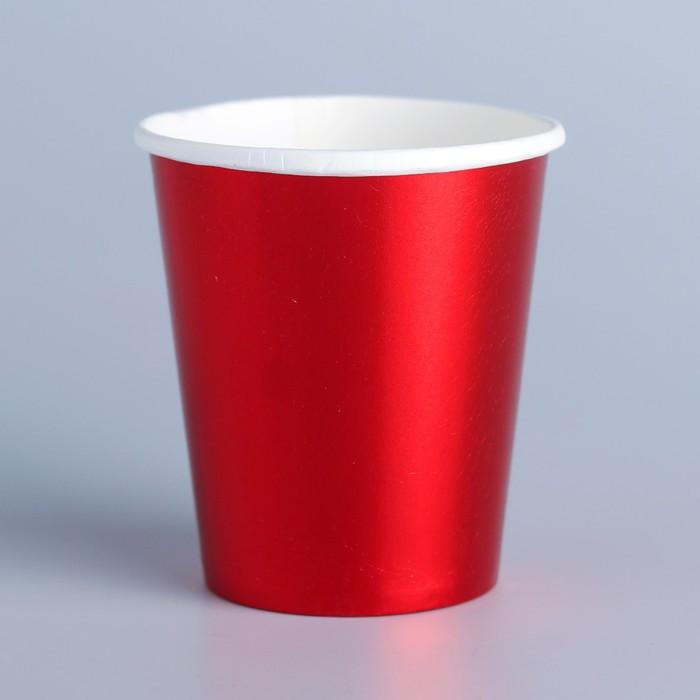 Стакан бумажный, набор 6 шт., цвет красный