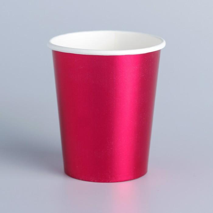 Стакан бумажный, набор 6 шт., цвет розовый