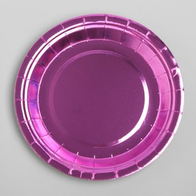Тарелка бумажная, набор 6 шт., цвет фиолетовый