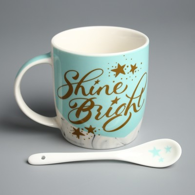 "Mug set with spoon Me To You ""Shine Bright"", 350 ml"