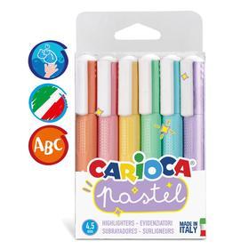 """Набор маркеров текстовыделителей 6 цветов, 1-4,5 мм, Carioca """"Pastel"""", пастельная палитра, блистер, европодвес"""