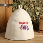 """Шапка для бани с вышивкой """"Russia"""" цветы"""