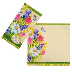 """Открытка """"В День 8 Марта!"""" фольга, конгрев, цветы, бабочки, евро"""