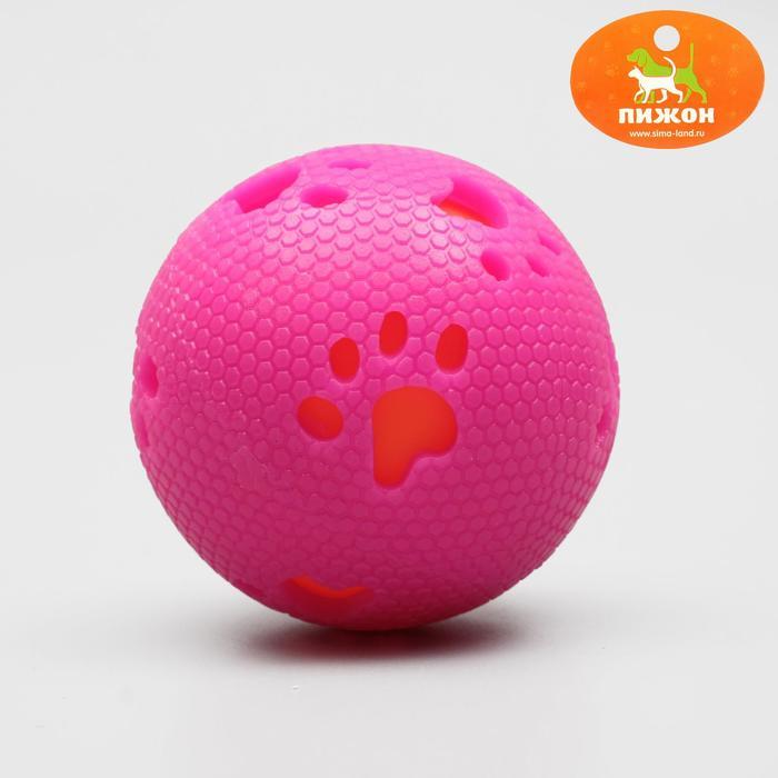 Мяч двухслойный святящийся из экологичного и неразгрызаемого PPS-пластика, 7,5 см, микс
