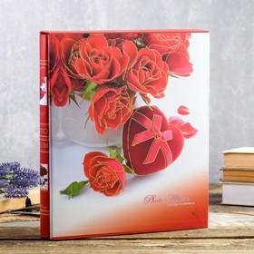 """Фотоальбом на 400 фото 10х15 см """"Красные розы"""" в коробке, с зол.обвод МИКС 33,5х28х5,5 см"""