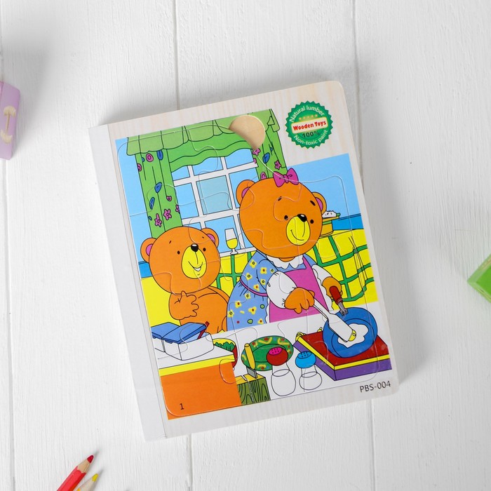 Книжка-пазл «Мишки на кухне» 2,2×14,5×17,5 см - фото 1037182