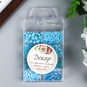 "A set of plastic beads + fishing line 1-2 m ""Blue"" 6/0; 10/0; 12/0 1,2x9,5x6 cm"