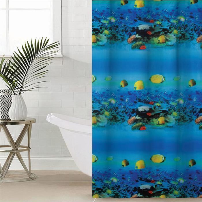 Штора для ванной комнаты «Рифы», 180×180 см, полиэстер
