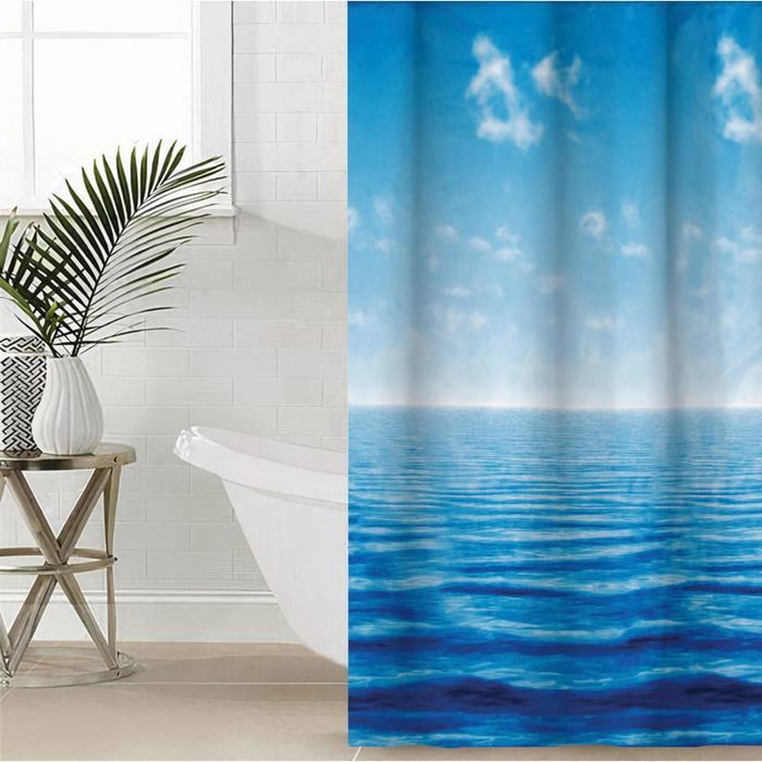 Штора для ванной комнаты «Море», 180×180 см, полиэстер