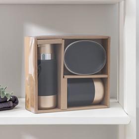 """Наборы аксессуаров для ванной комнаты, 3 предмета """"Руж"""", цвет чёрный - фото 4649325"""
