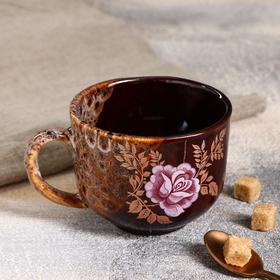 "Чашка ""Александра"", коричневая, 450 мл, микс"