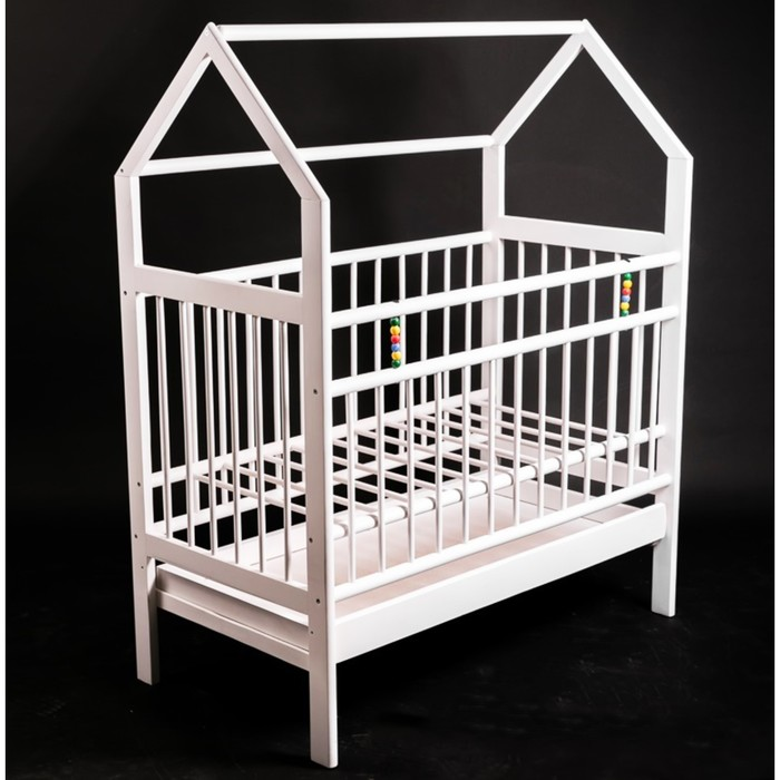 Кровать детская Женечка-10 домик,ящик, цвет белый