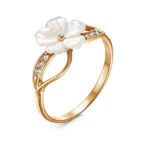 "Кольцо весна ""Цветок"", позолота, цвет белый, 17,5 размер"