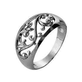 """Кольцо """"Овал"""" расписной, посеребрение с оксидированием, 17,5 размер"""
