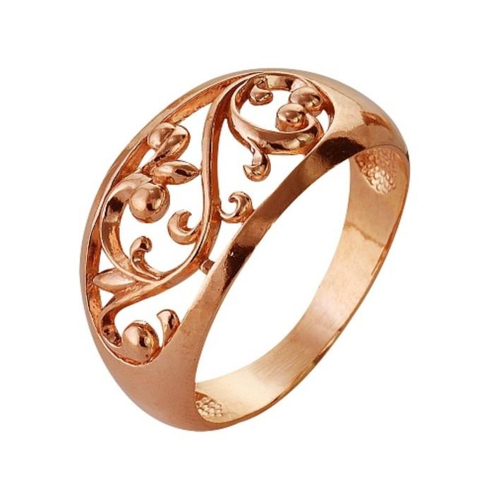 """Кольцо """"Овал"""" расписной, позолота, 18 размер"""