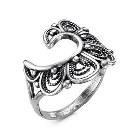"""Кольцо """"Веер"""", посеребрение с оксидированием, 17,5 размер"""