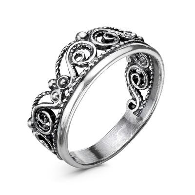 """Кольцо """"Корона витая"""", посеребрение с оксидированием, 17 размер"""