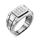 """Кольцо """"Перстень"""" мужской, домино, посеребрение с оксидированием, 20 размер"""
