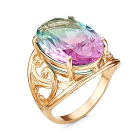 """Кольцо """"Люкс"""" овал, позолота, цветное, 18 размер"""