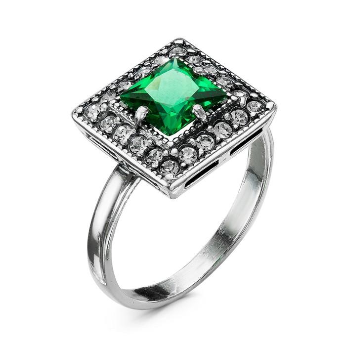 """Кольцо """"Ромб"""", посеребрение с оксидированием, цвет зелёный, 16,5 размер"""